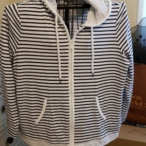Blue/White Summer Zip Hood Jacket.  2X. Cotton/Pol